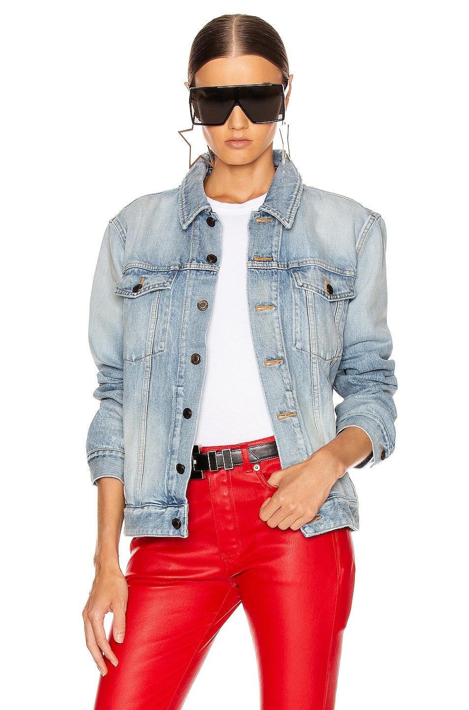 Image 1 of Saint Laurent Boyfriend Denim Jacket in Light Sky Blue