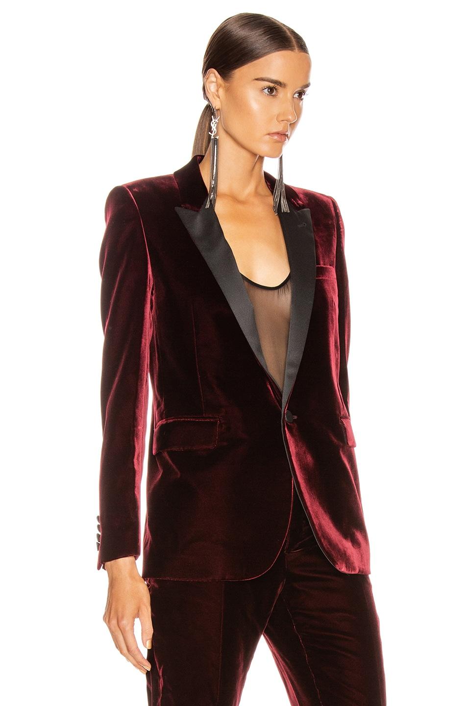 Image 3 of Saint Laurent Tailored Blazer Jacket in Bordeaux