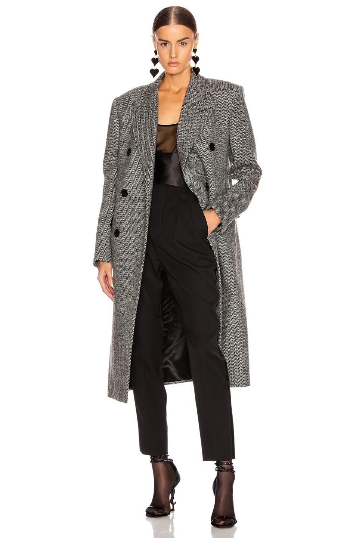 Image 1 of Saint Laurent Oversized Coat in Black & White