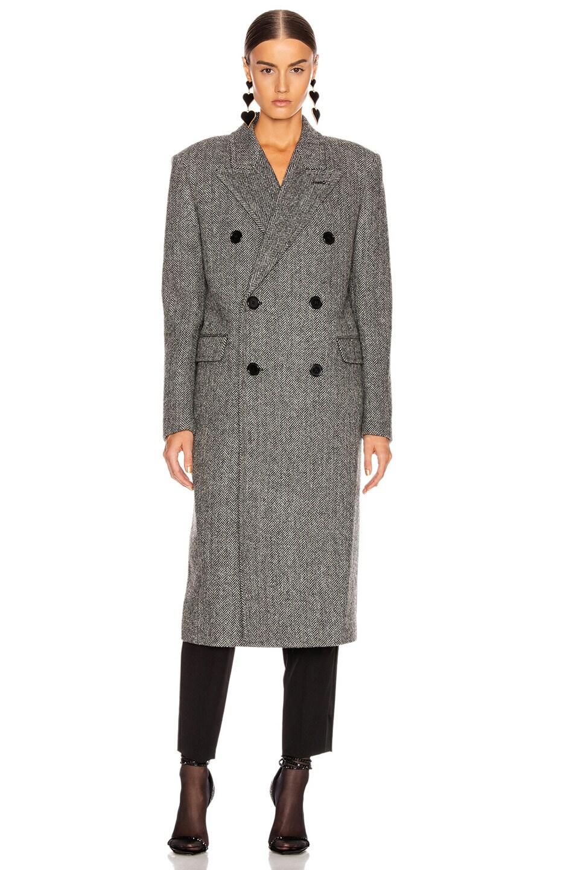 Image 2 of Saint Laurent Oversized Coat in Black & White