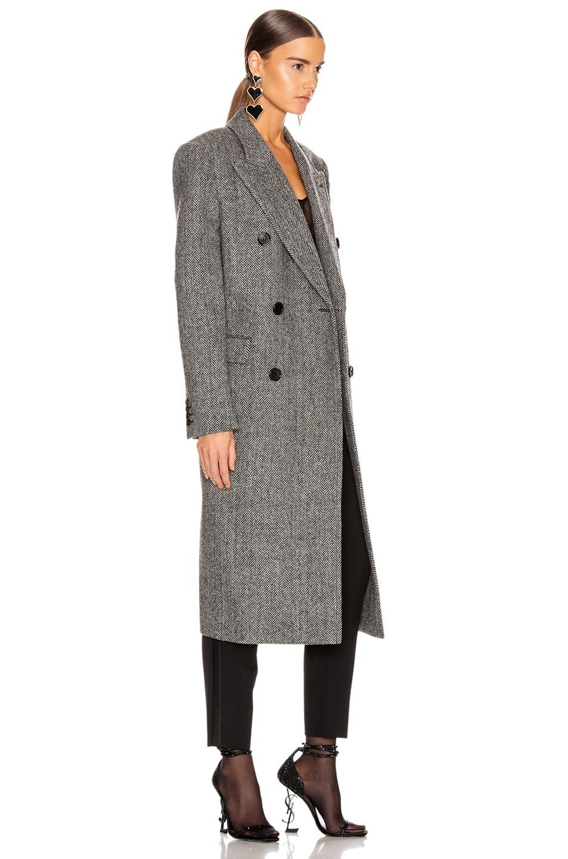 Image 3 of Saint Laurent Oversized Coat in Black & White