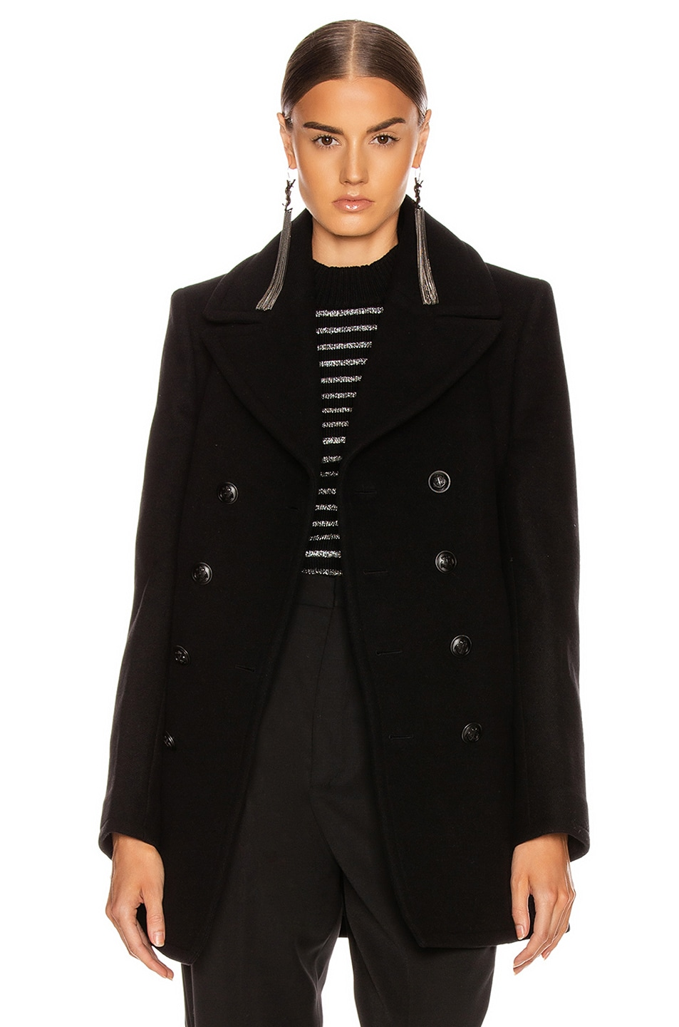 Image 1 of Saint Laurent Button Drape Coat in Black