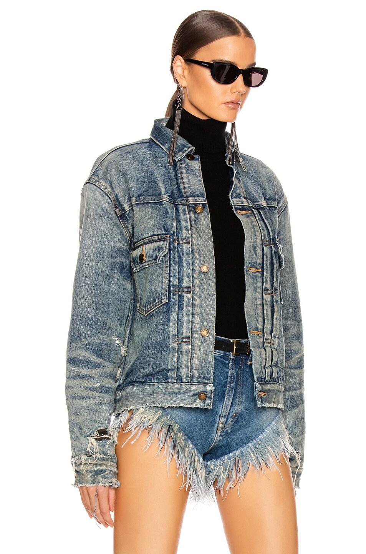 Image 2 of Saint Laurent Denim Pleats Jacket in 70s Blue Trash