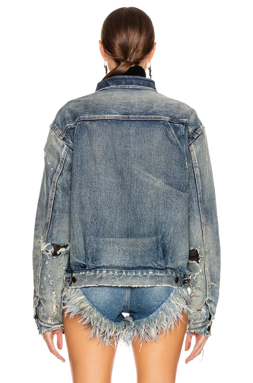 Image 3 of Saint Laurent Denim Pleats Jacket in 70s Blue Trash