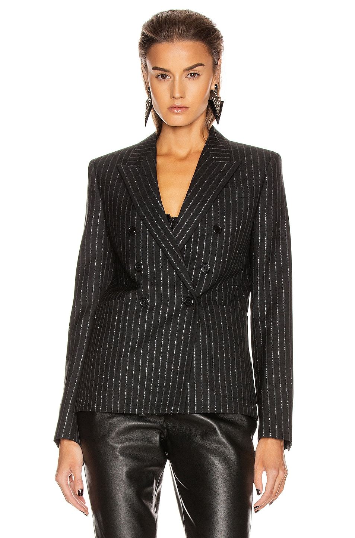 Image 2 of Saint Laurent Striped Blazer in Black & Silver