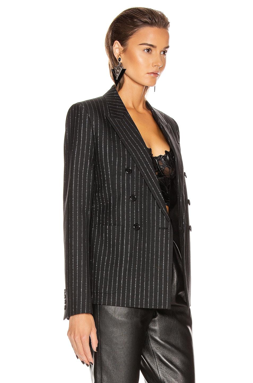 Image 3 of Saint Laurent Striped Blazer in Black & Silver