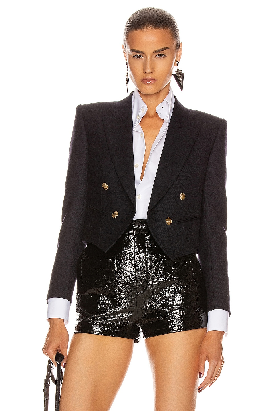 Image 1 of Saint Laurent Cropped Blazer in Marine Fonce