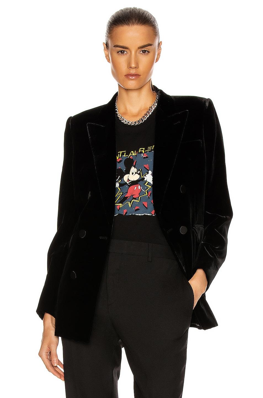 Image 1 of Saint Laurent Velvet Double Breasted Jacket in Noir