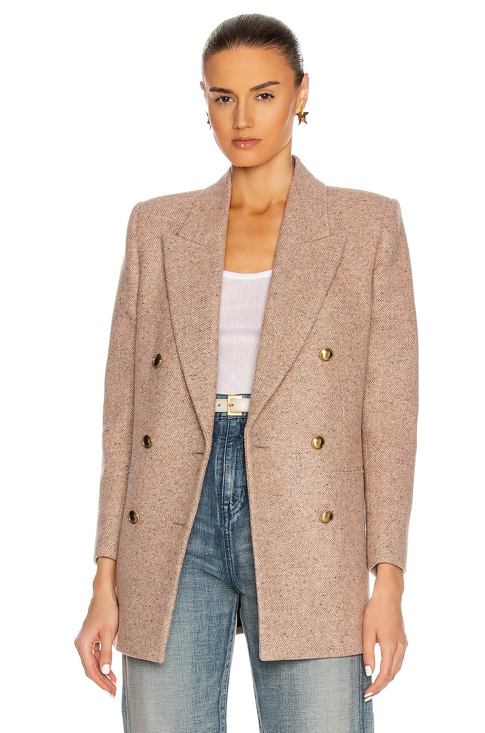Image 1 of Saint Laurent Double Breasted Blazer in Rose Pale