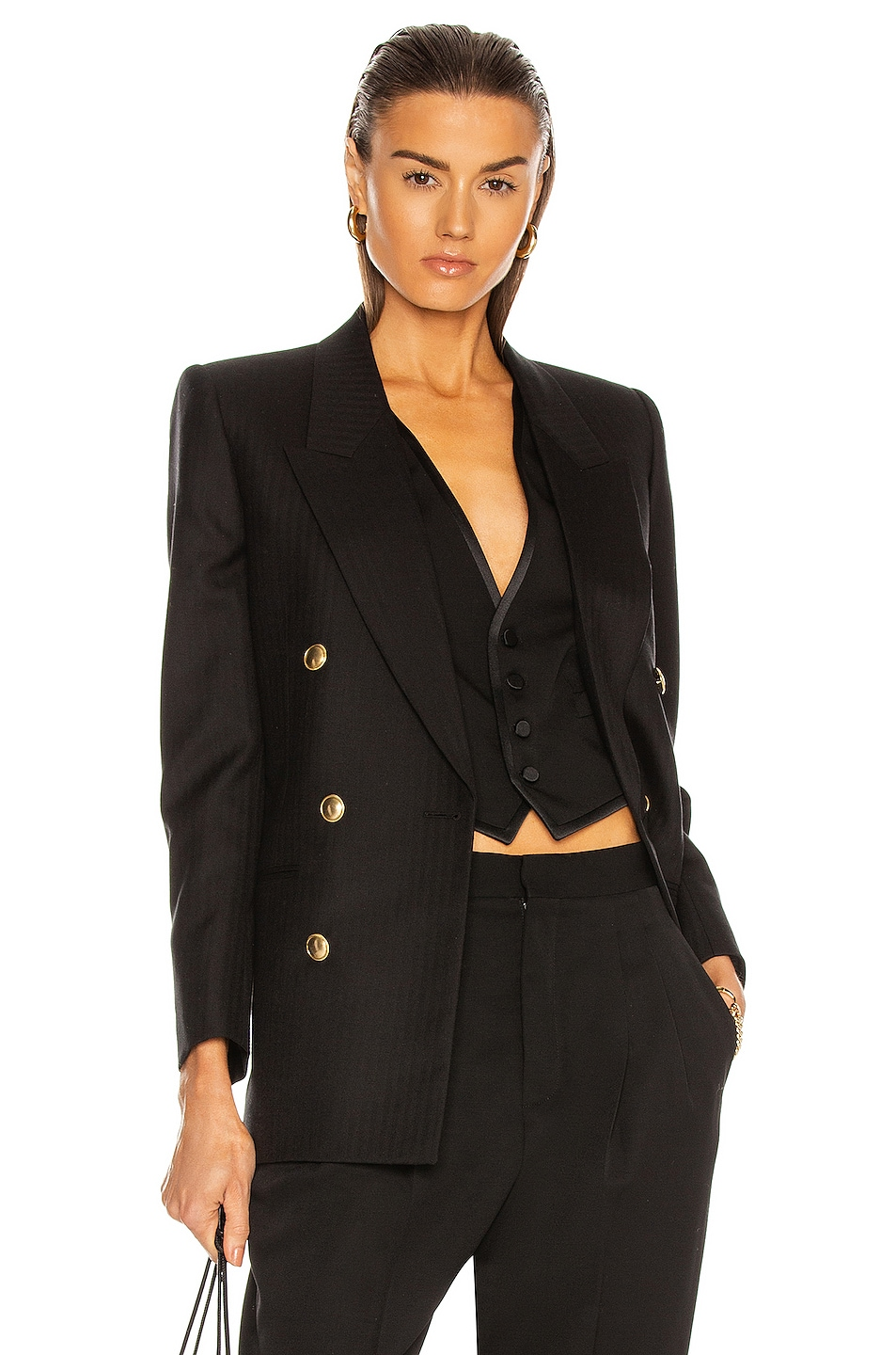 Image 1 of Saint Laurent Tailored Jacket in Noir