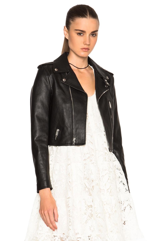 Image 1 of Saint Laurent Cropped Motorcycle Jacket in Black