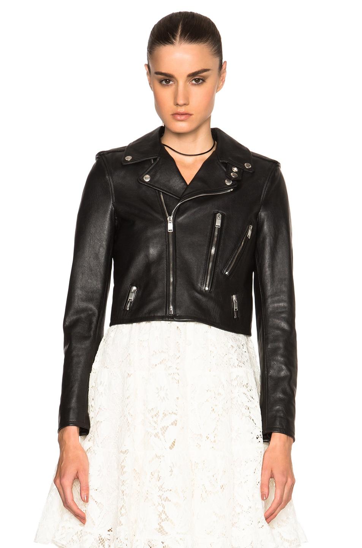 Image 2 of Saint Laurent Cropped Motorcycle Jacket in Black