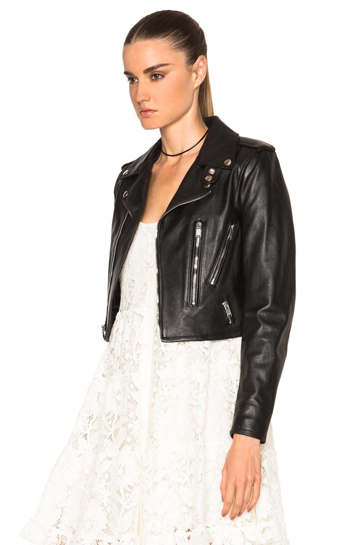 Image 3 of Saint Laurent Cropped Motorcycle Jacket in Black