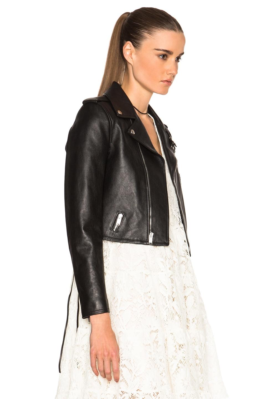 Image 4 of Saint Laurent Cropped Motorcycle Jacket in Black