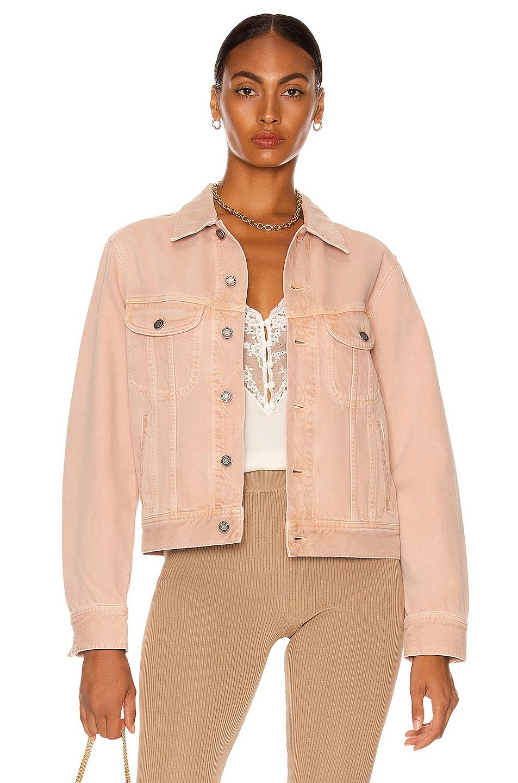 Image 1 of Saint Laurent Curved Denim Jacket in Glowy Pink Ozone