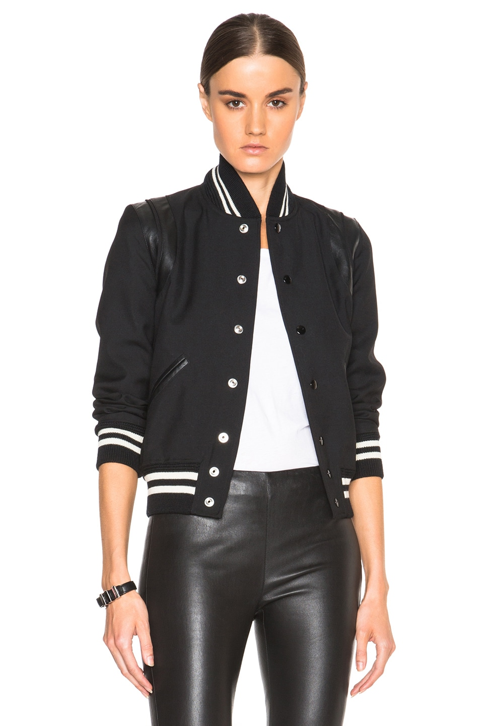 Image 1 of Saint Laurent Teddy Gabardine Bomber in Black
