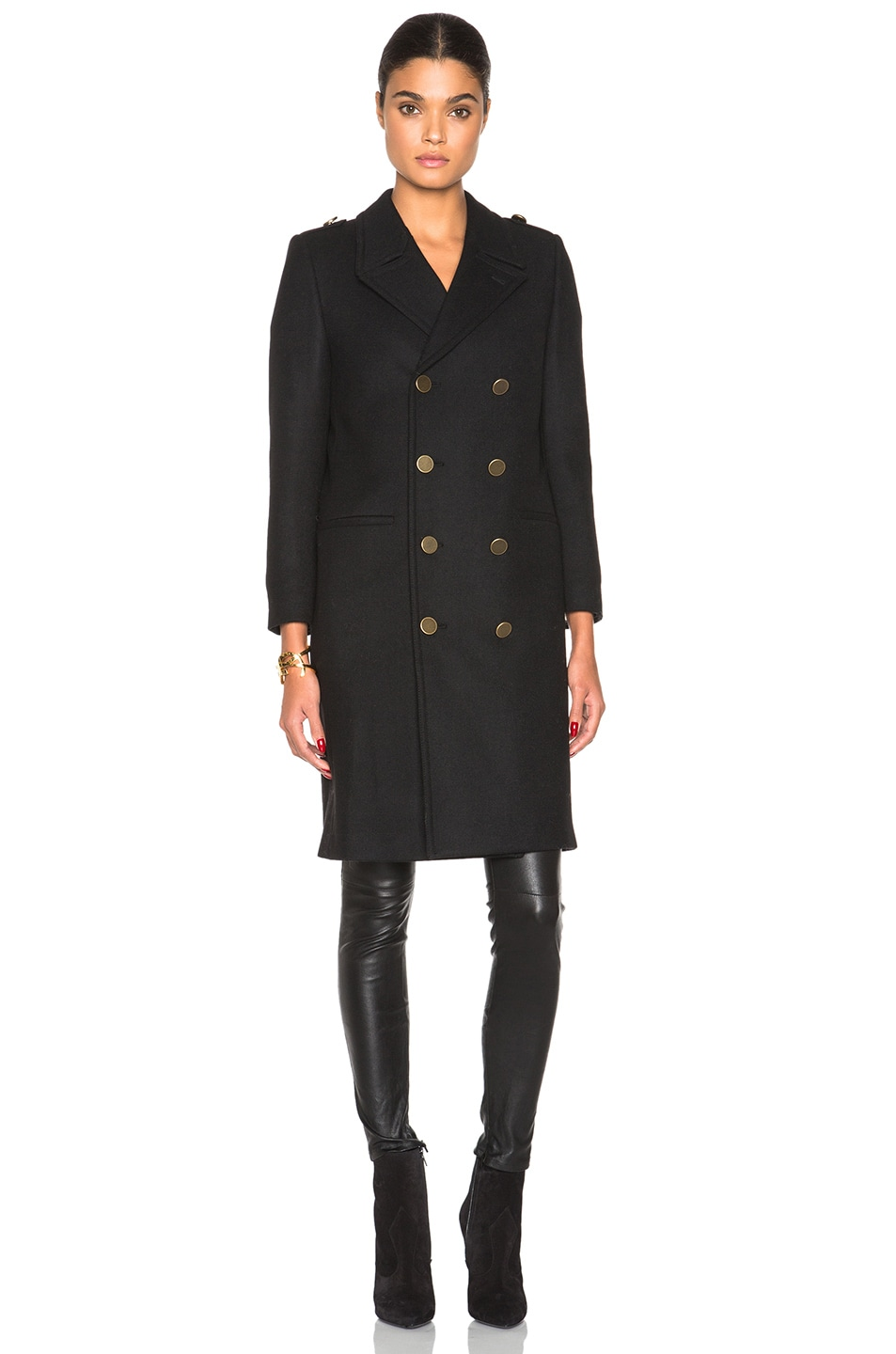 Image 2 of Saint Laurent Military Peacoat in Black