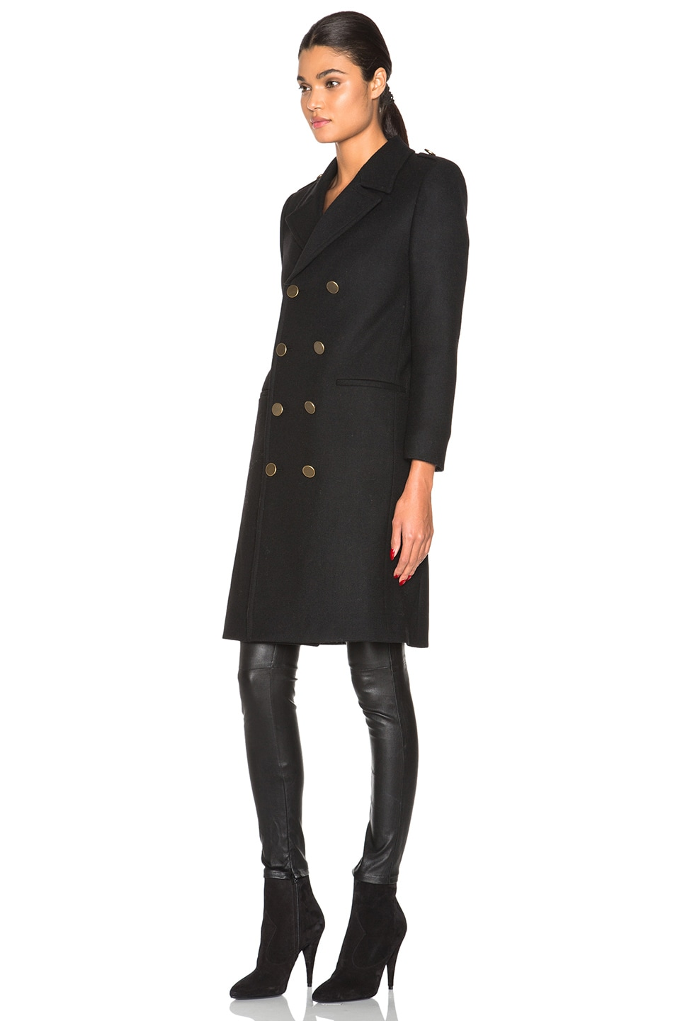 Image 3 of Saint Laurent Military Peacoat in Black