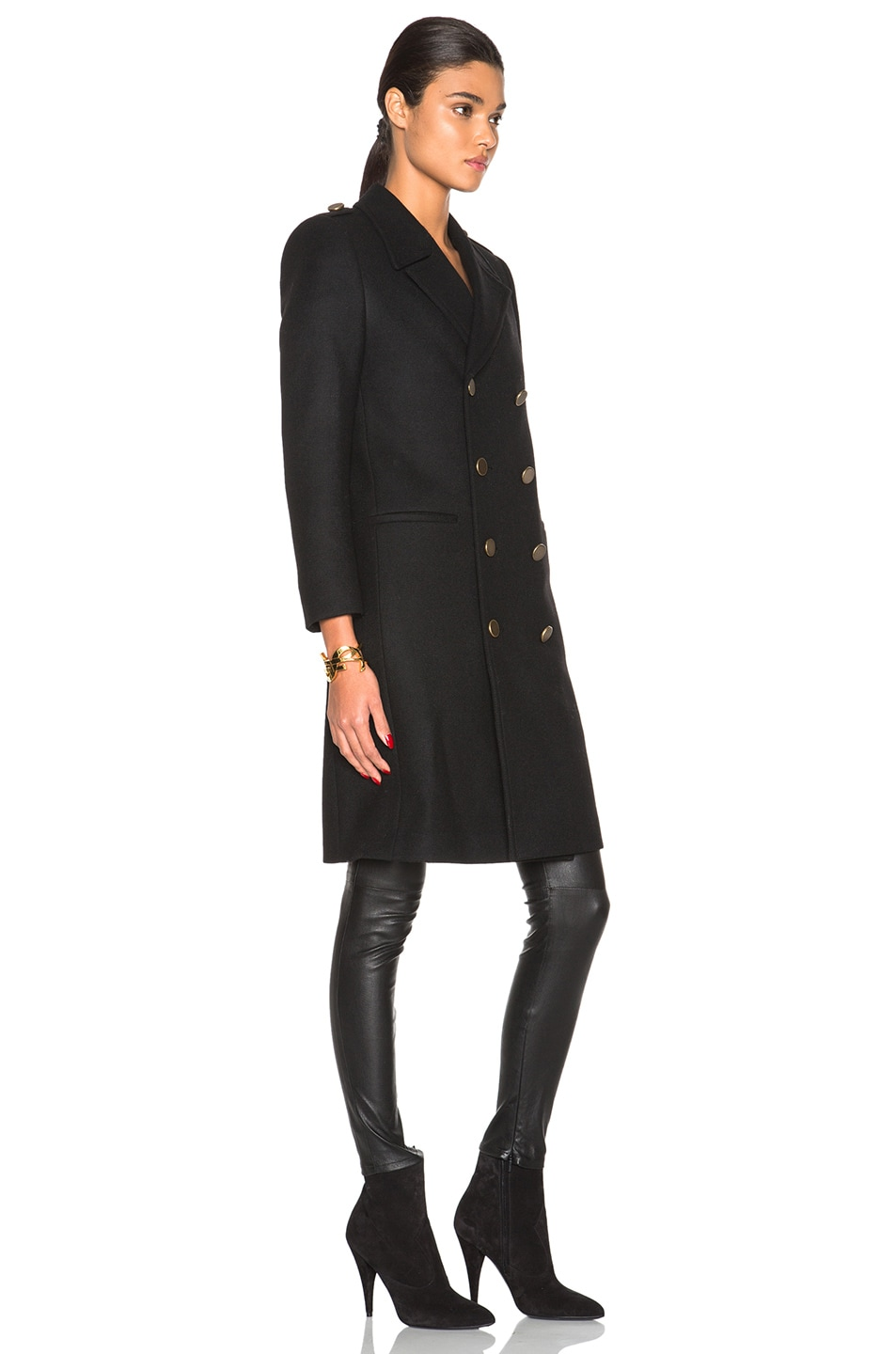 Image 4 of Saint Laurent Military Peacoat in Black