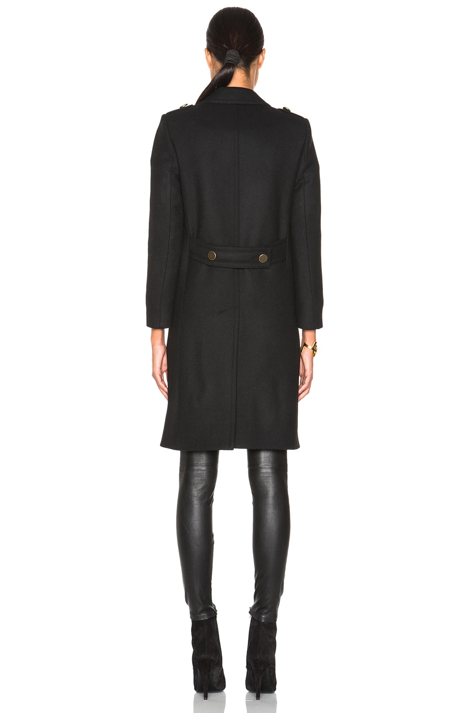 Image 5 of Saint Laurent Military Peacoat in Black