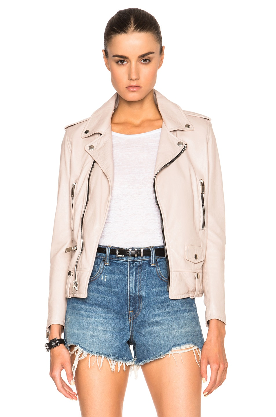 Image 1 of Saint Laurent Classic Washed Leather Motorcycle Jacket in Powder Rose