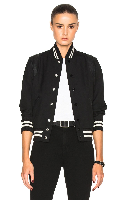 Image 1 of Saint Laurent Teddy Gabardine Bomber Jacket in Black