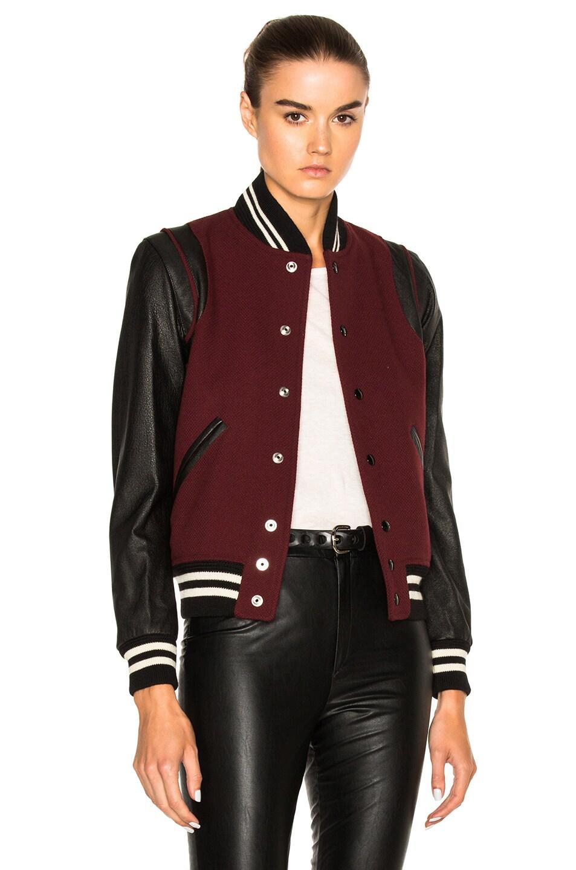 Image 1 of Saint Laurent Teddy Bomber Jacket in Burgundy
