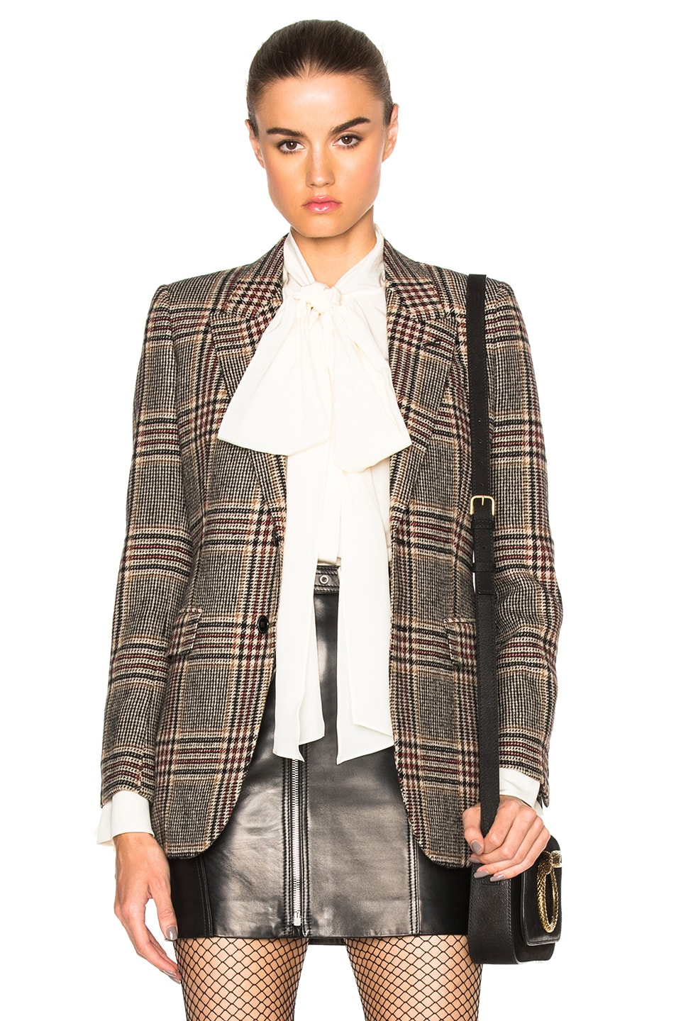 Image 1 of Saint Laurent Oversize Tweed Blazer in Beige Marron
