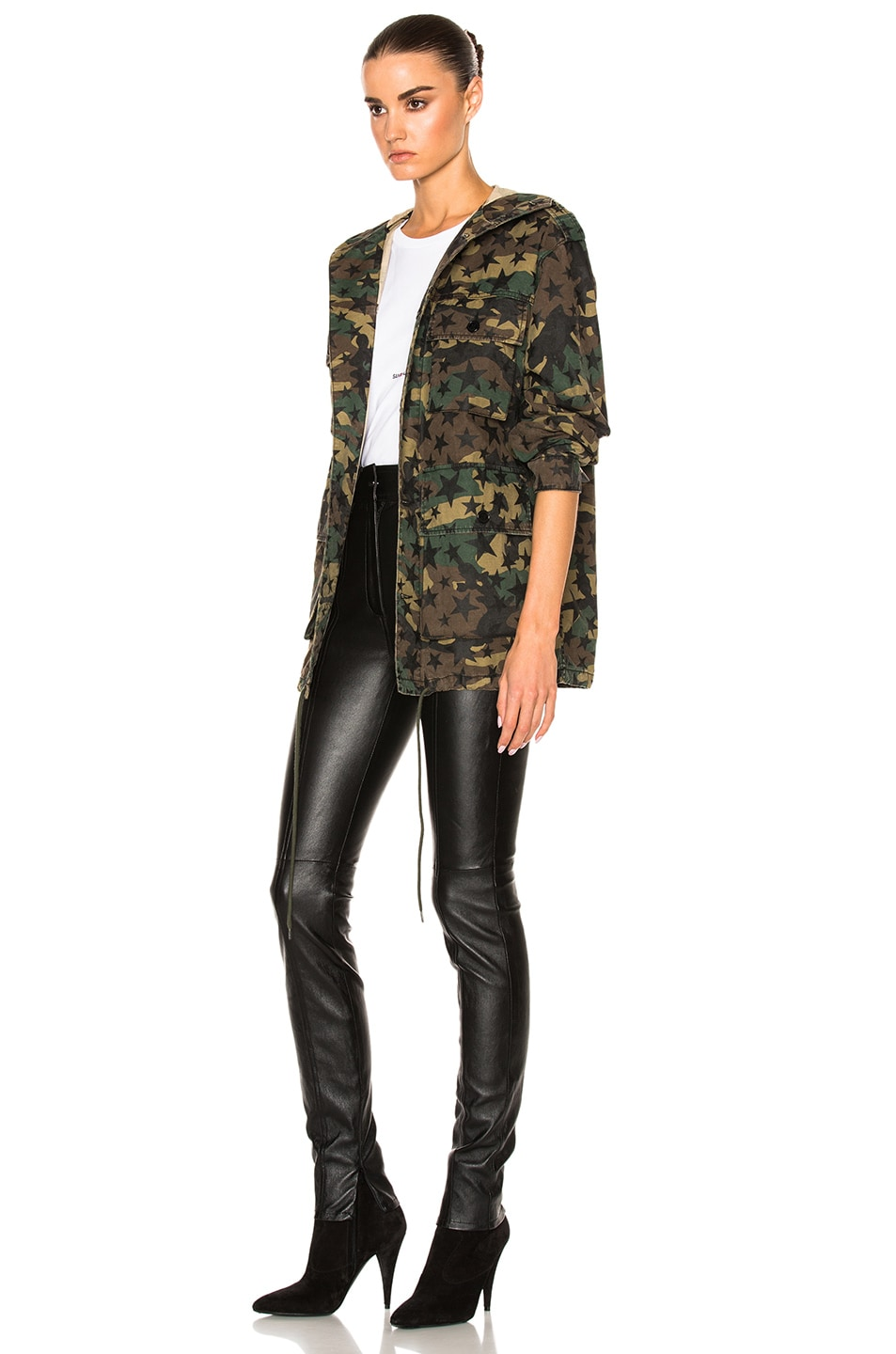 Image 3 of Saint Laurent Army Camouflage Jacket with Stars in Army Camouflage