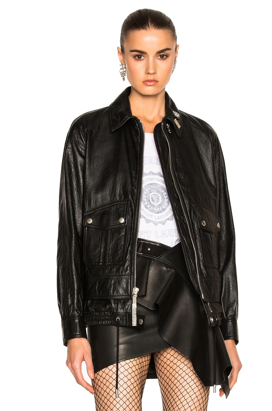 Image 1 of Saint Laurent Leather Bomber Jacket in Black