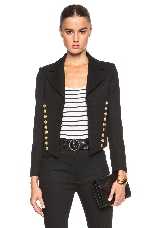 244ef2568fd Image 1 of Saint Laurent Spencer Twill Officer Jacket in Black