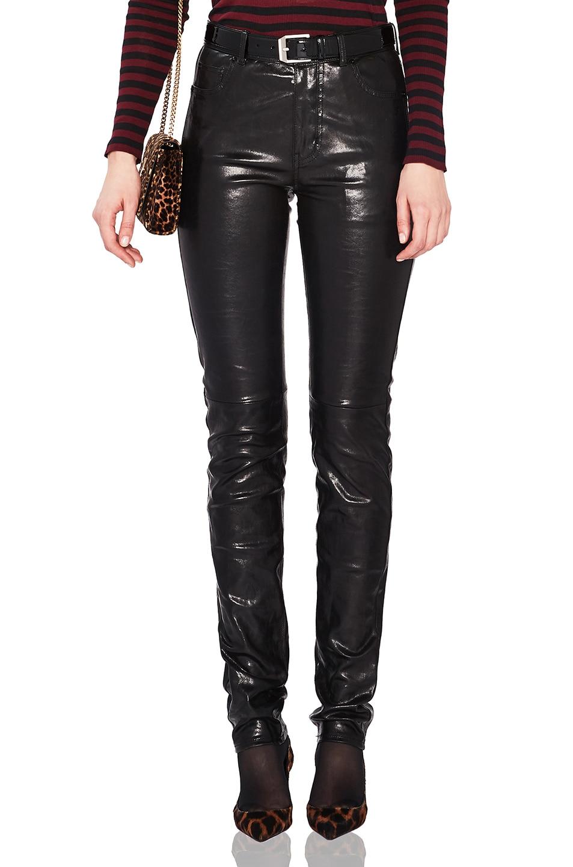 Image 1 of Saint Laurent Mid Rise Leather Pants in Black