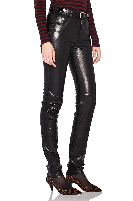 Image 2 of Saint Laurent Mid Rise Leather Pants in Black