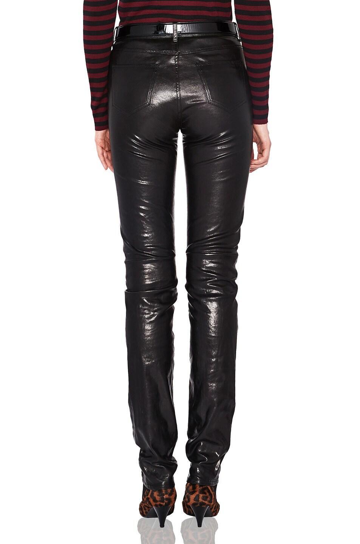 Image 4 of Saint Laurent Mid Rise Leather Pants in Black