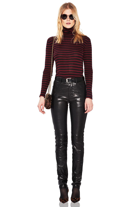 Image 5 of Saint Laurent Mid Rise Leather Pants in Black