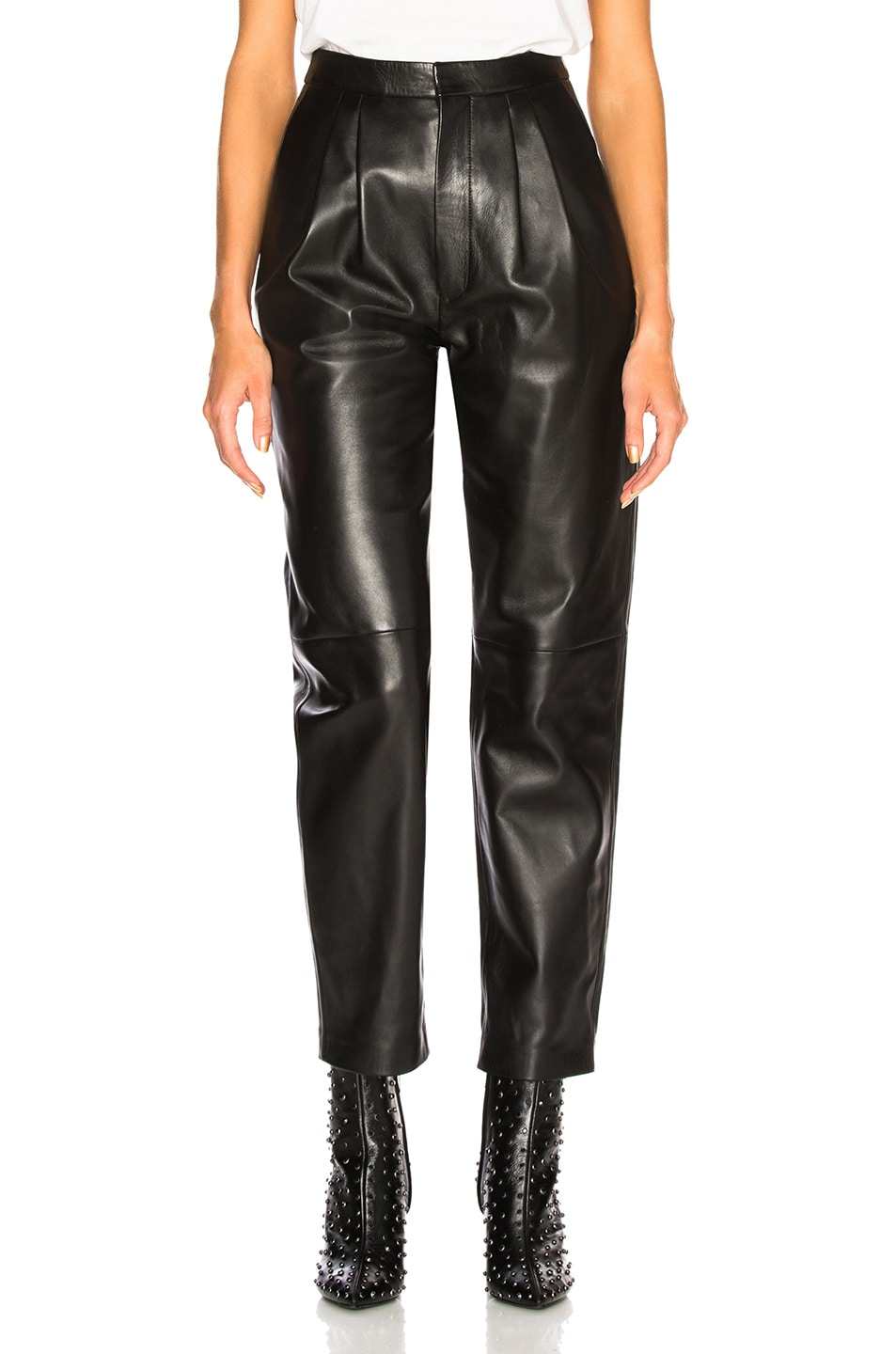 Image 1 of Saint Laurent Tapered Leather Pants in Black