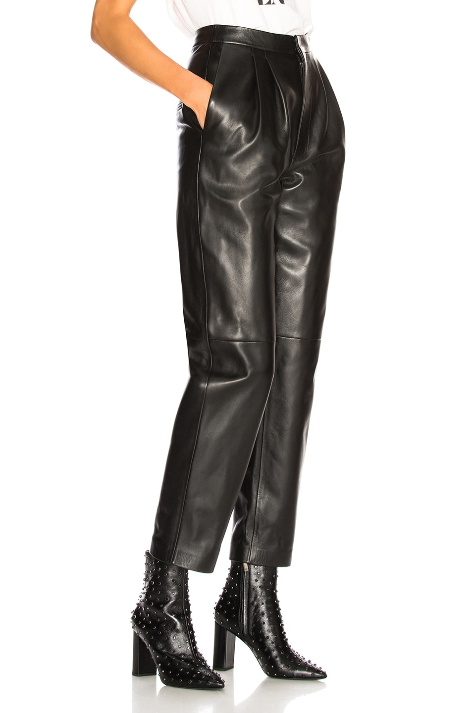 Image 2 of Saint Laurent Tapered Leather Pants in Black