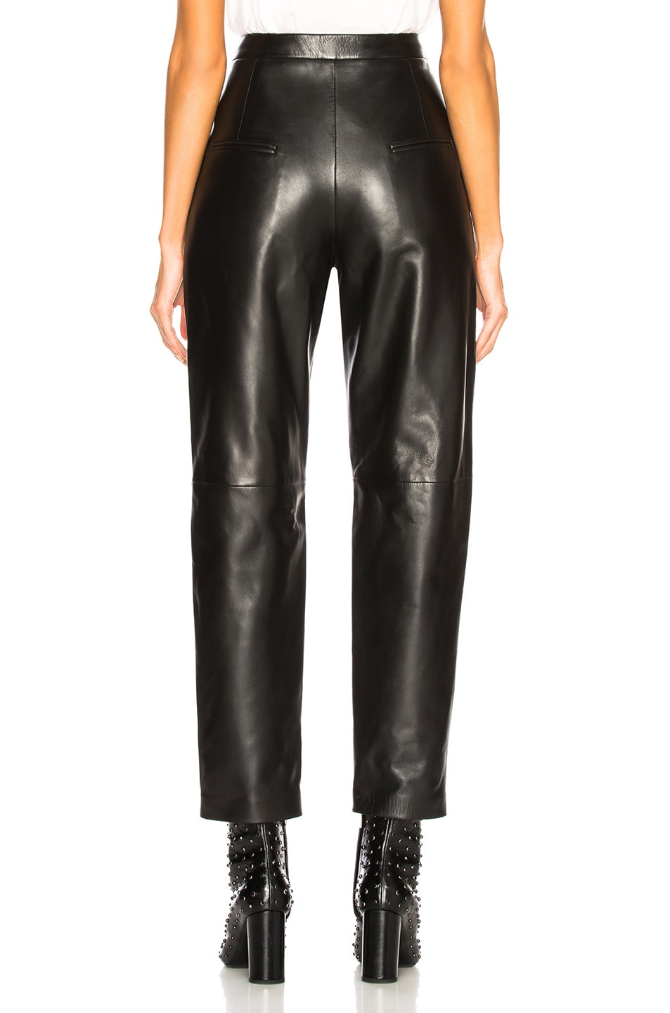 Image 3 of Saint Laurent Tapered Leather Pants in Black