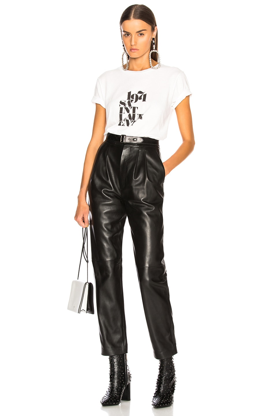 Image 4 of Saint Laurent Tapered Leather Pants in Black