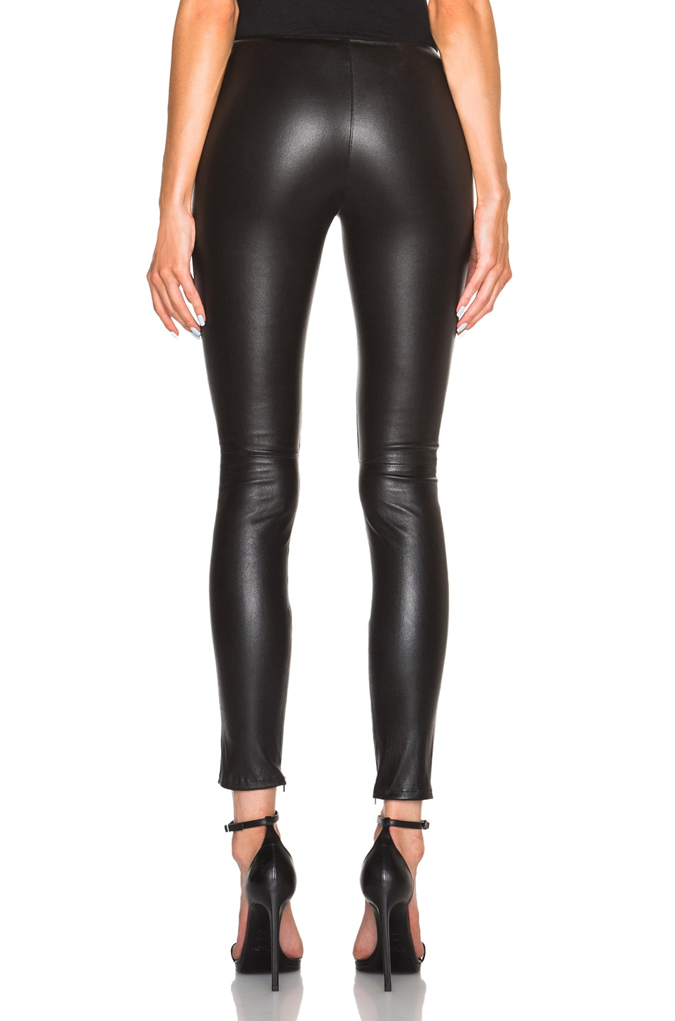 Image 4 of Saint Laurent Leather Leggings in Black