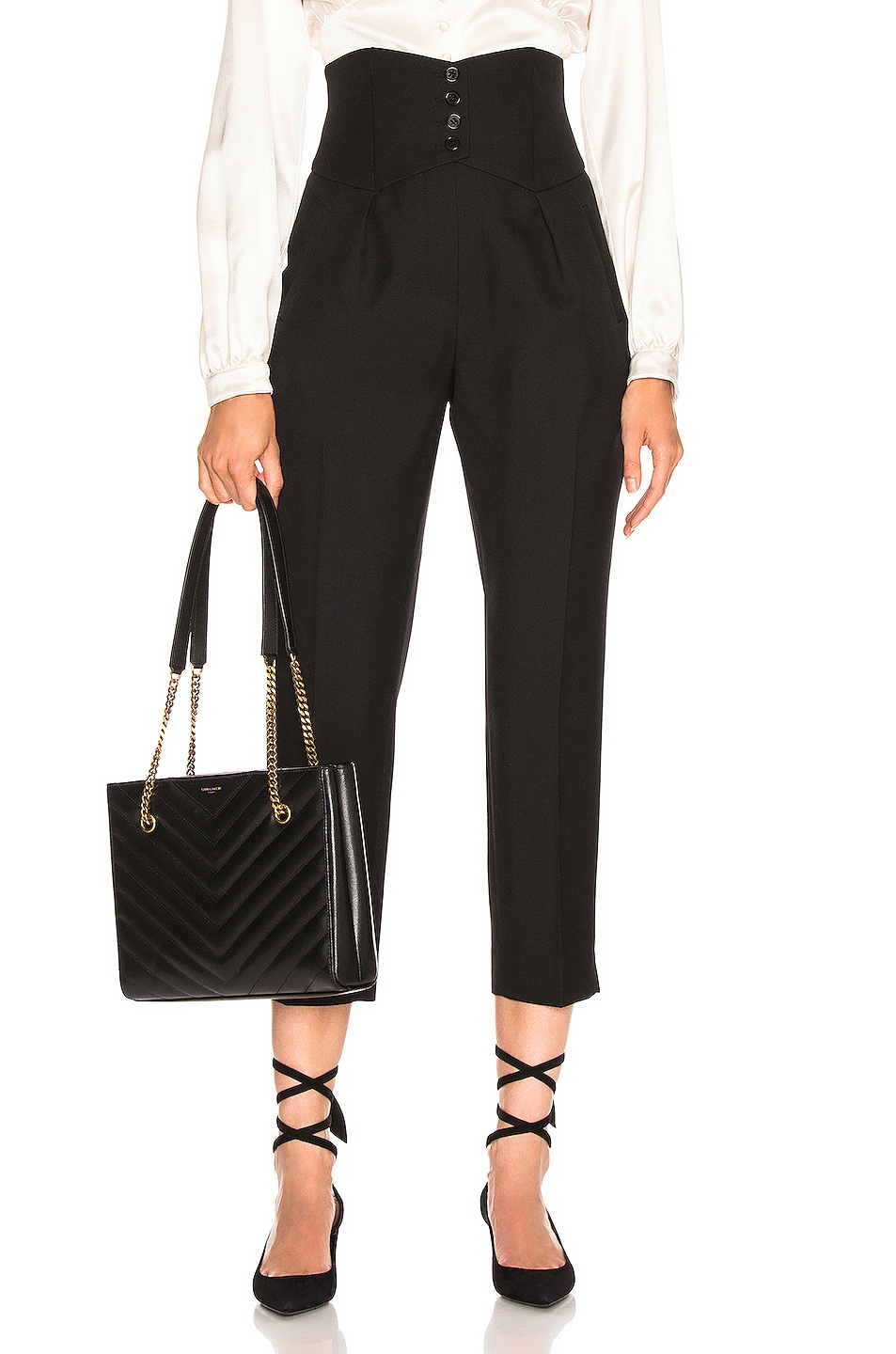 Image 1 of Saint Laurent Button Tailored Pant in Black