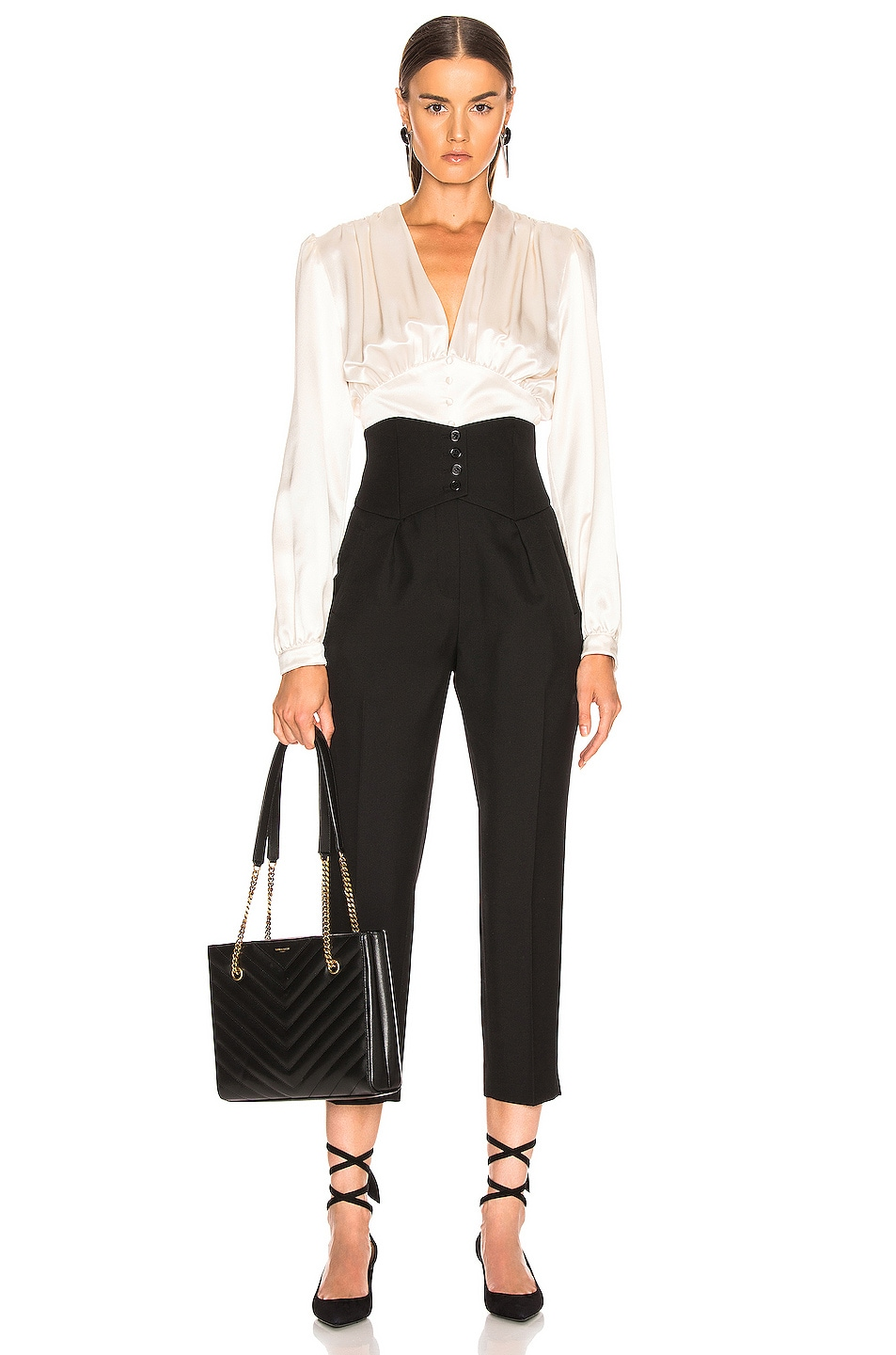 Image 4 of Saint Laurent Button Tailored Pant in Black