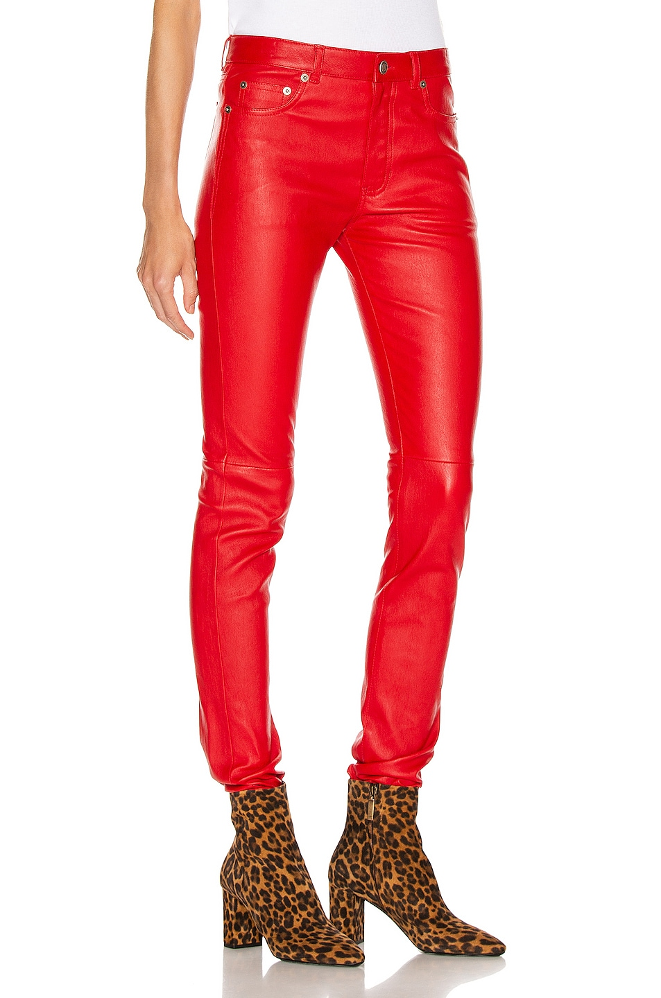 Image 2 of Saint Laurent Skinny Pant in Red