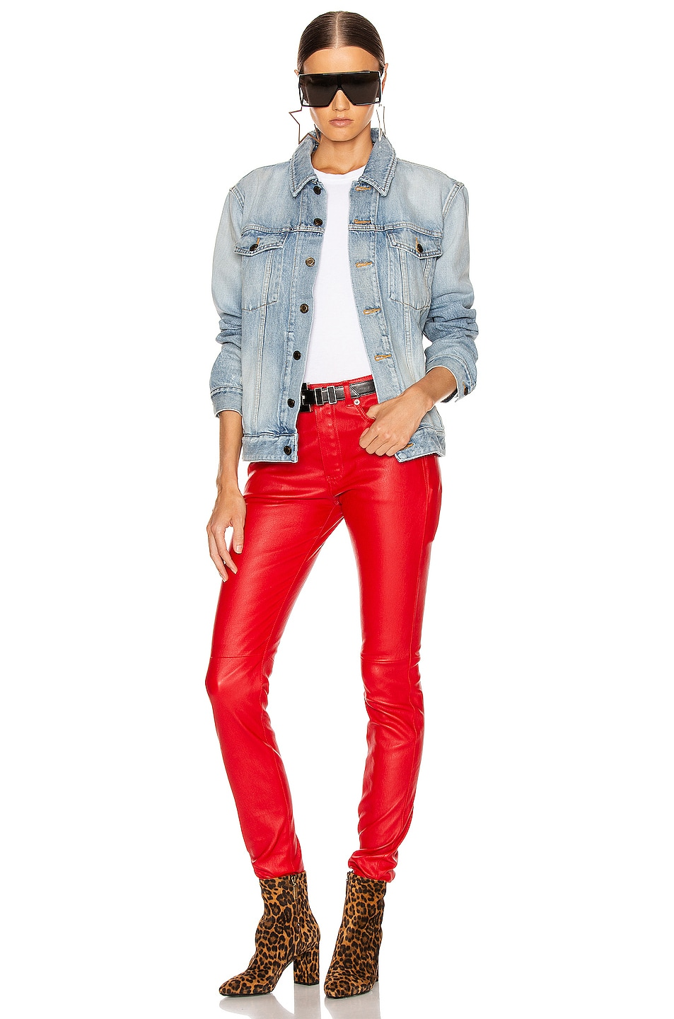 Image 4 of Saint Laurent Skinny Pant in Red