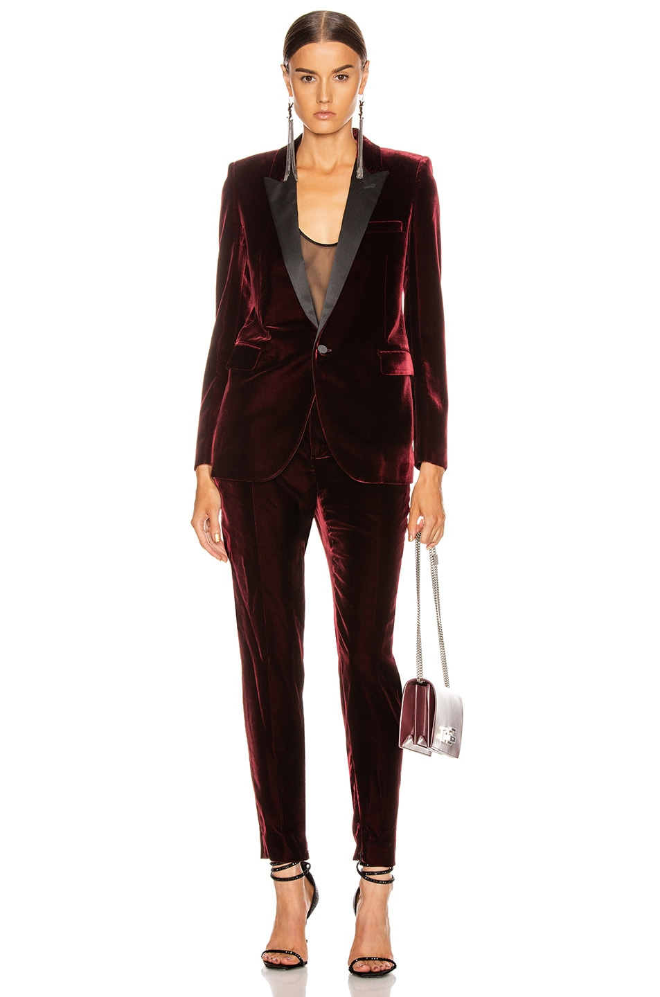 Image 4 of Saint Laurent Skinny Tailored Pant in Bordeaux