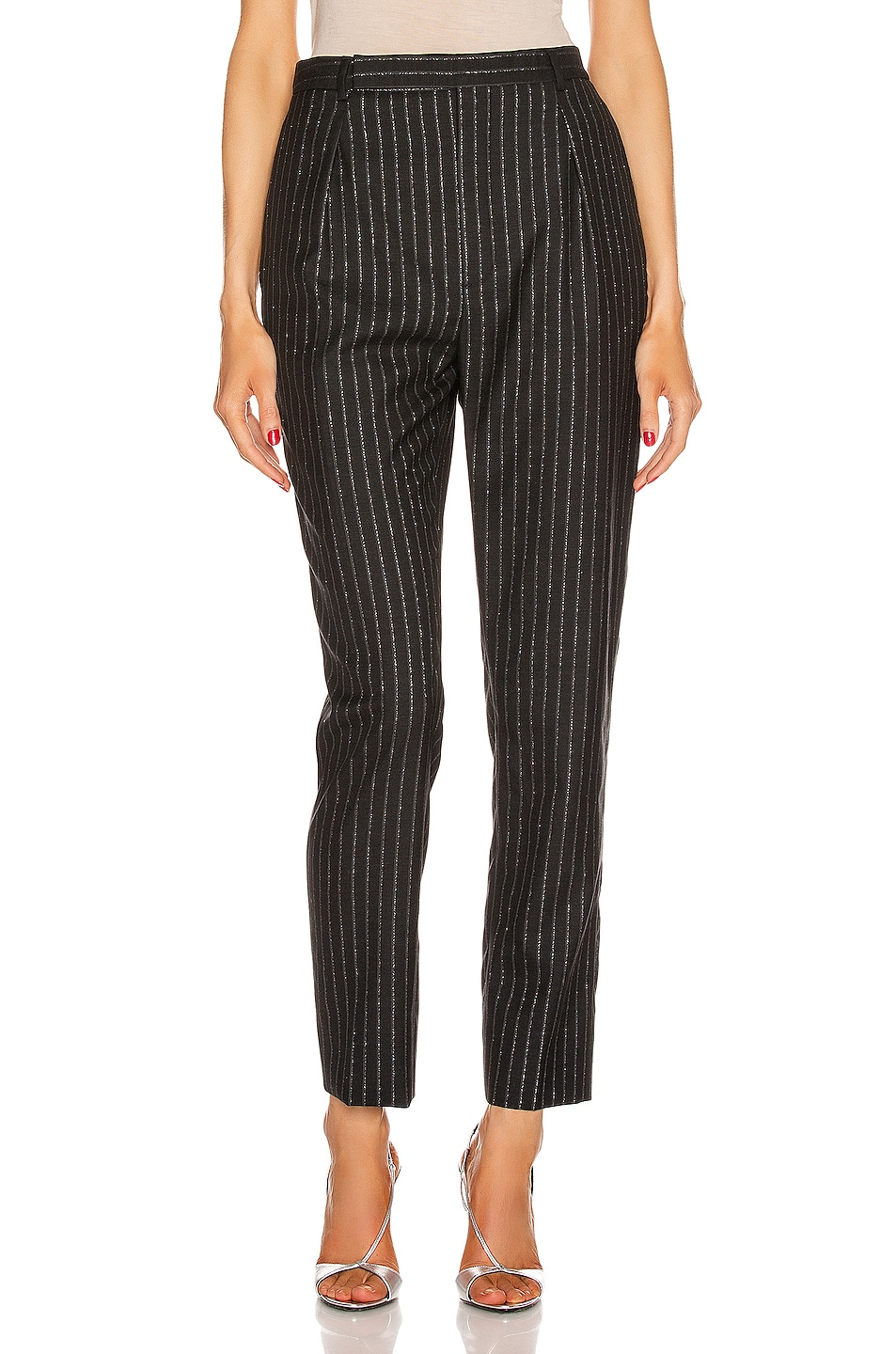 Image 1 of Saint Laurent Striped Tailored Pant in Black & Silver