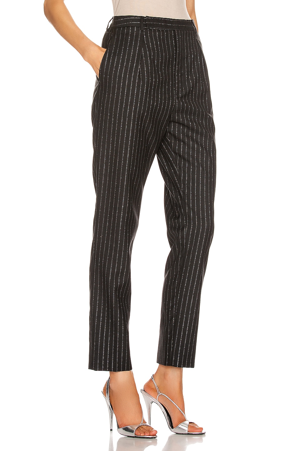 Image 2 of Saint Laurent Striped Tailored Pant in Black & Silver