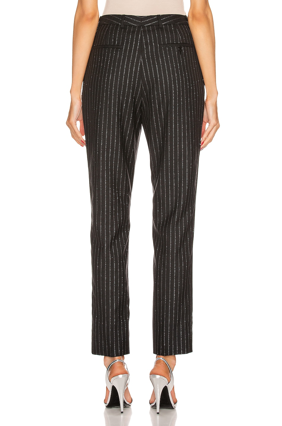 Image 3 of Saint Laurent Striped Tailored Pant in Black & Silver