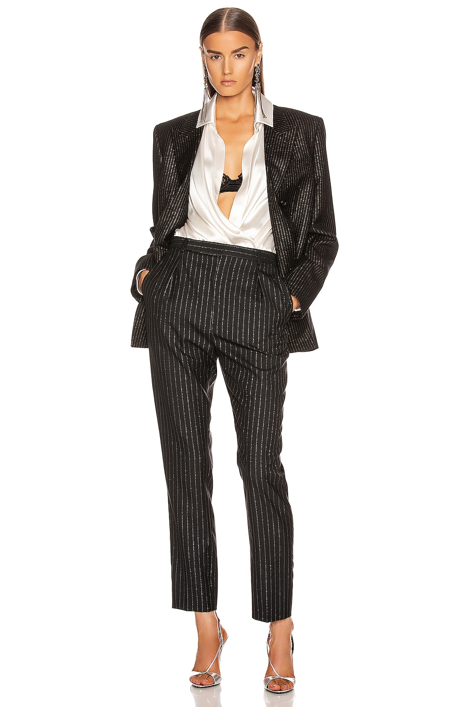 Image 4 of Saint Laurent Striped Tailored Pant in Black & Silver