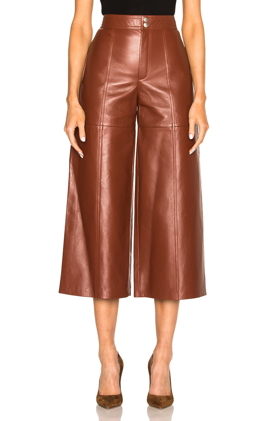 Image 1 of Saint Laurent Leather Slouch Culottes in Amaranto